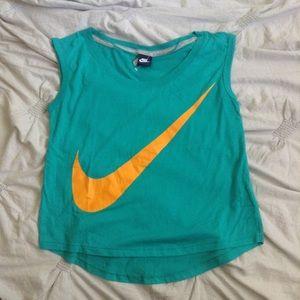 Nike Prep Swoosh Logo Cap Sleeve T-Shirt